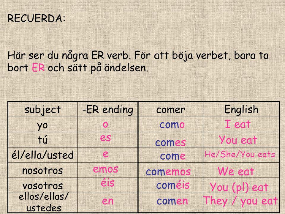 RECUERDA: Här ser du några ER verb. För att böja verbet, bara ta bort ER och sätt på ändelsen.