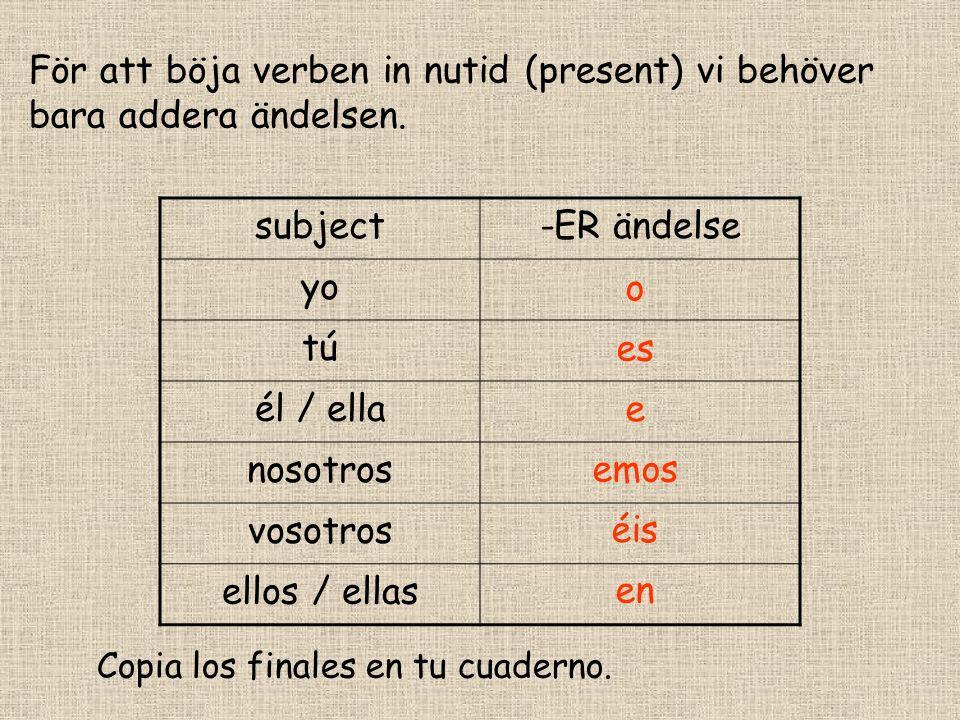 För att böja verben in nutid (present) vi behöver bara addera ändelsen.