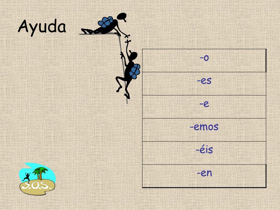 Hoja: ER verbs present tense (1) 1.Rellena el cuadro con las seis partes de cada verbo.