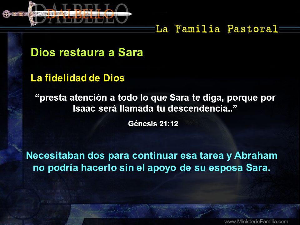 Dios restaura a Sara presta atención a todo lo que Sara te diga, porque por Isaac será llamada tu descendencia.. La fidelidad de Dios Génesis 21:12 Ne