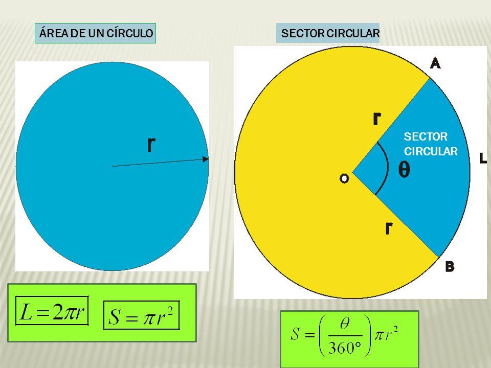 ÁREA DE UN CÍRCULO SECTOR CIRCULAR SECTOR CIRCULAR