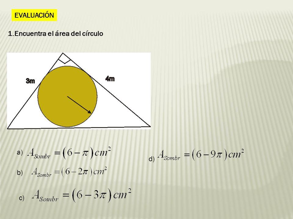 2.Halla la parte sombreada. Si ABCD es un cuadrado de lado 4cm a)a) b) c) d)
