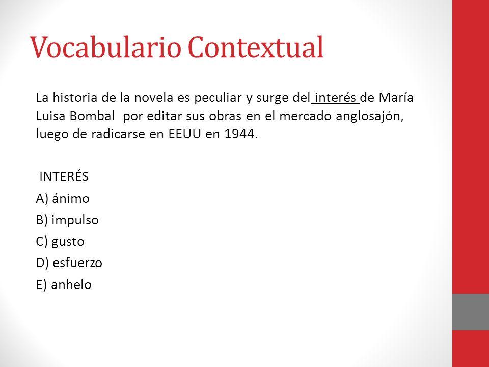 Vocabulario Contextual La historia de la novela es peculiar y surge del interés de María Luisa Bombal por editar sus obras en el mercado anglosajón, l