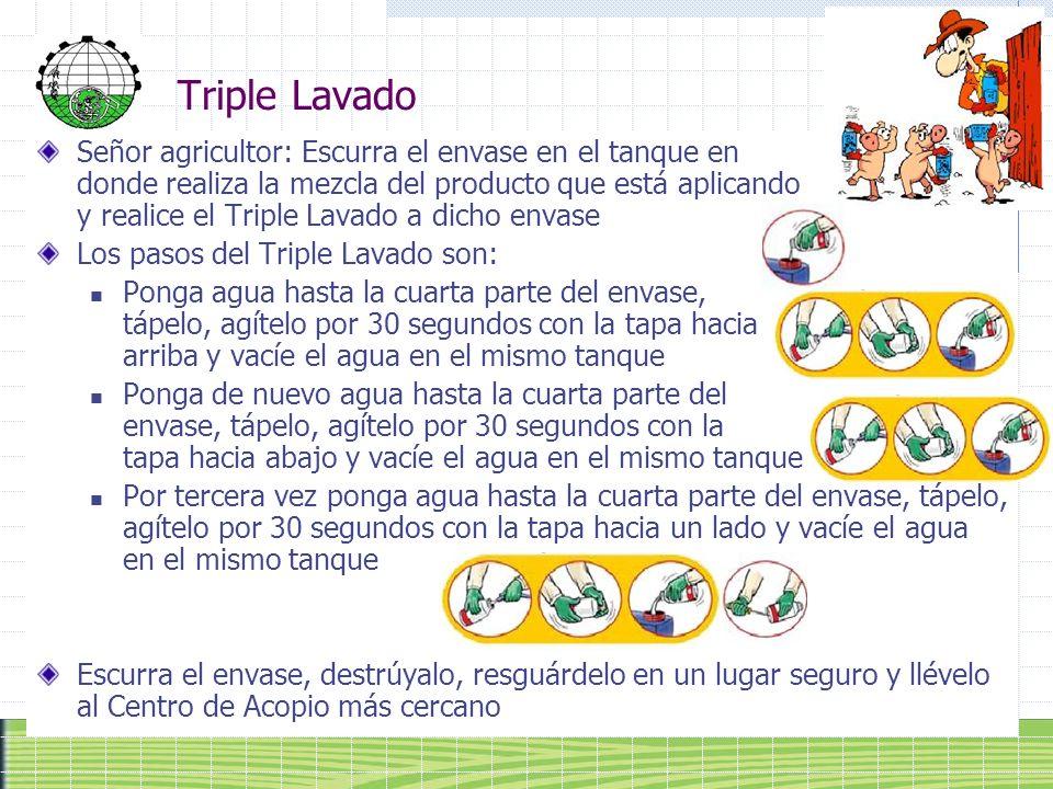Triple Lavado Señor agricultor: Escurra el envase en el tanque en donde realiza la mezcla del producto que está aplicando y realice el Triple Lavado a