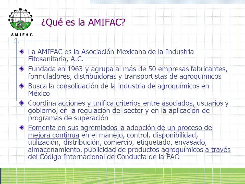 ¿Qué es la AMIFAC? La AMIFAC es la Asociación Mexicana de la Industria Fitosanitaria, A.C. Fundada en 1963 y agrupa al más de 50 empresas fabricantes,