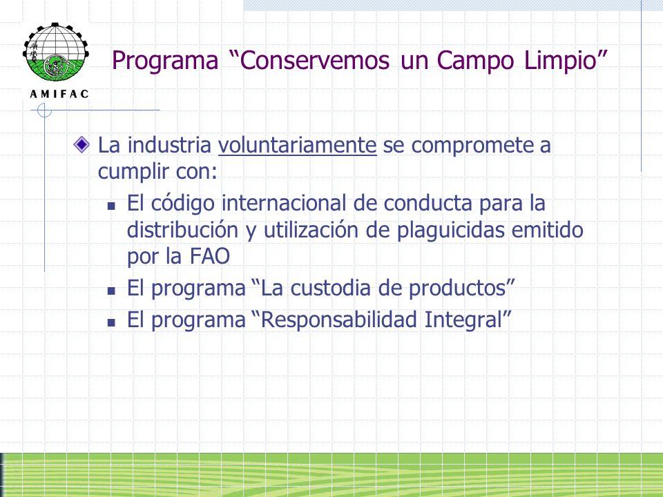 Programa Conservemos un Campo Limpio La industria voluntariamente se compromete a cumplir con: El código internacional de conducta para la distribució