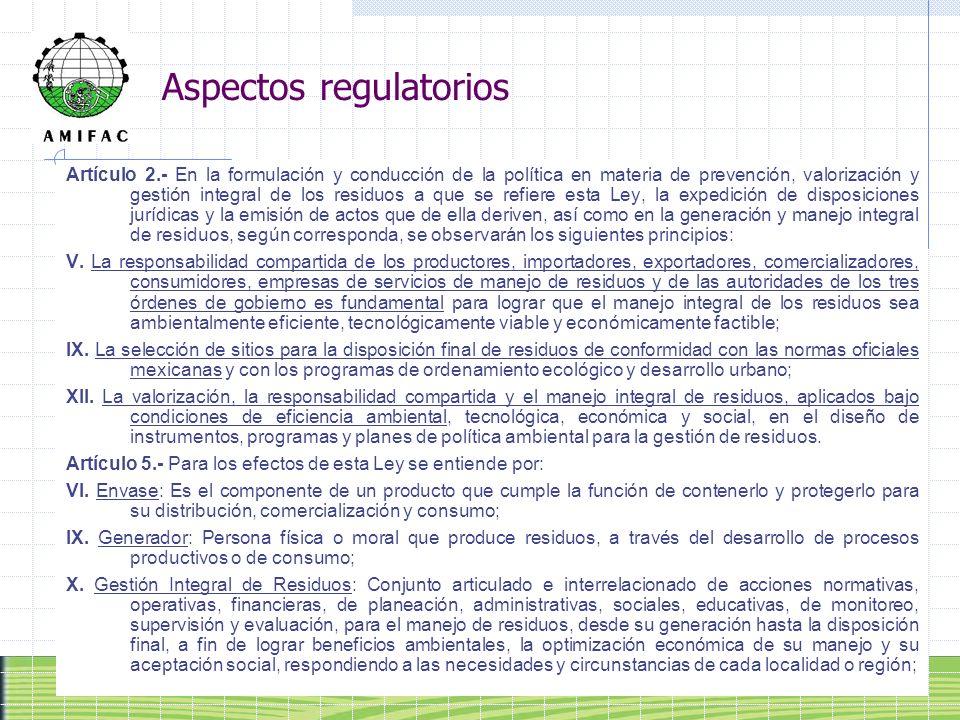 Aspectos regulatorios Artículo 2.- En la formulación y conducción de la política en materia de prevención, valorización y gestión integral de los resi
