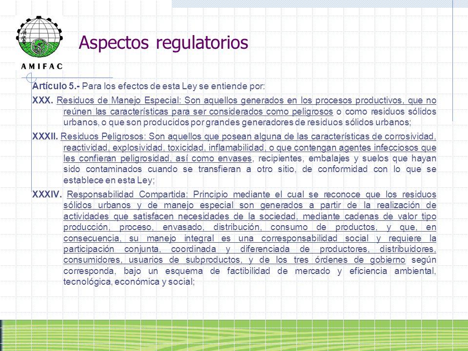 Aspectos regulatorios Artículo 5.- Para los efectos de esta Ley se entiende por: XXX. Residuos de Manejo Especial: Son aquellos generados en los proce
