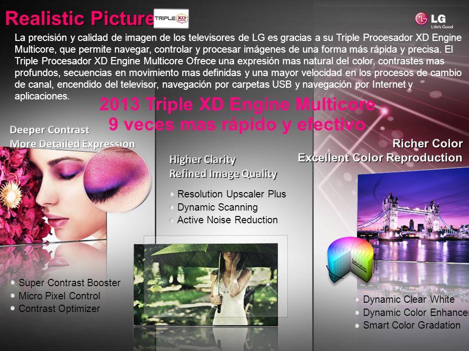 Realistic Picture Resolution Upscaler Plus Dynamic Scanning Active Noise Reduction 2013 Triple XD Engine Multicore 9 veces mas rápido y efectivo Super