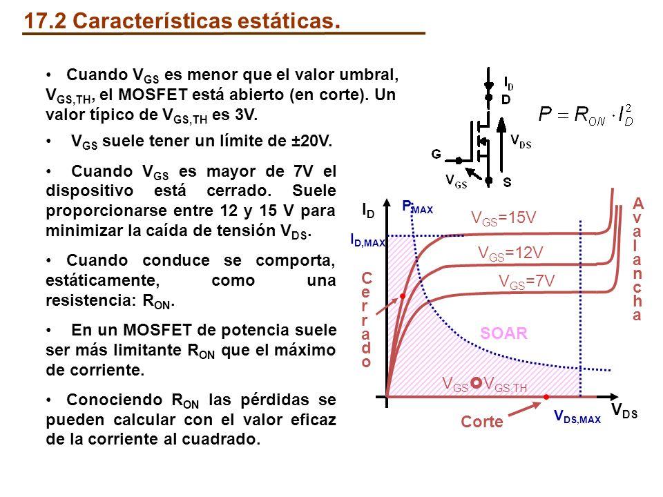 17.2 Características estáticas. Cuando V GS es menor que el valor umbral, V GS,TH, el MOSFET está abierto (en corte). Un valor típico de V GS,TH es 3V