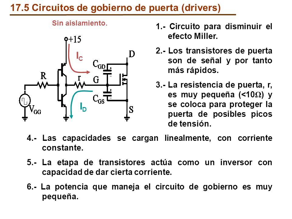 17.5 Circuitos de gobierno de puerta (drivers) ICIC IDID 1.- Circuito para disminuir el efecto Miller. 2.- Los transistores de puerta son de señal y p
