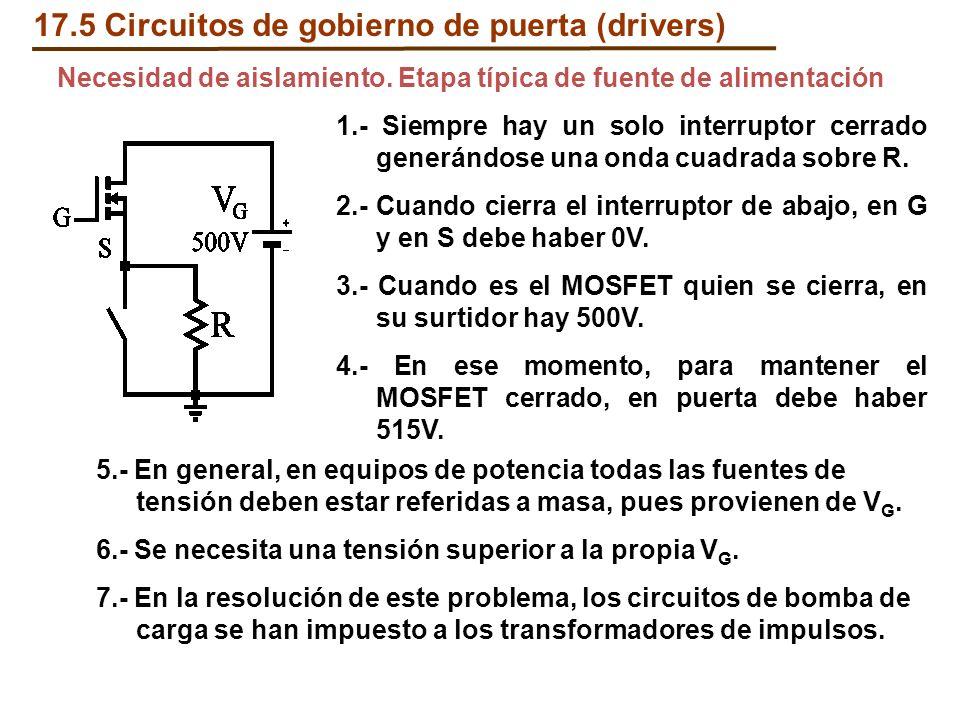1.- Siempre hay un solo interruptor cerrado generándose una onda cuadrada sobre R. 2.- Cuando cierra el interruptor de abajo, en G y en S debe haber 0