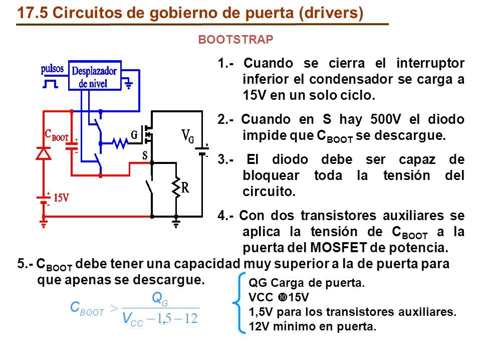 1.- Cuando se cierra el interruptor inferior el condensador se carga a 15V en un solo ciclo. 2.- Cuando en S hay 500V el diodo impide que C BOOT se de