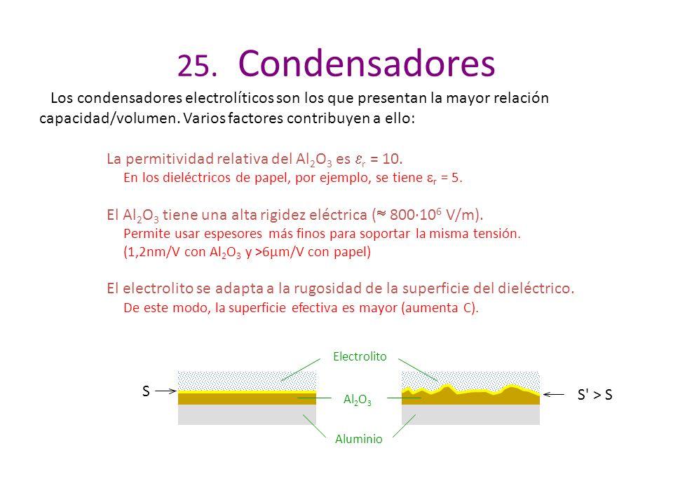 25. Condensadores Los condensadores electrolíticos son los que presentan la mayor relación capacidad/volumen. Varios factores contribuyen a ello: La p