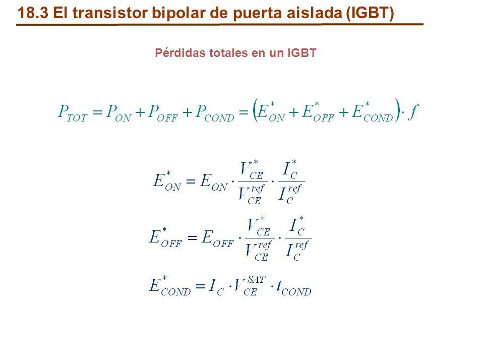 Pérdidas totales en un IGBT 18.3 El transistor bipolar de puerta aislada (IGBT)