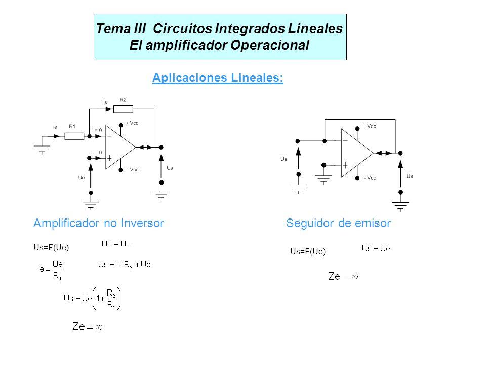 Tema III Circuitos Integrados Lineales El amplificador Operacional Aplicaciones Lineales: Amplificador no InversorSeguidor de emisor Us=F(Ue)