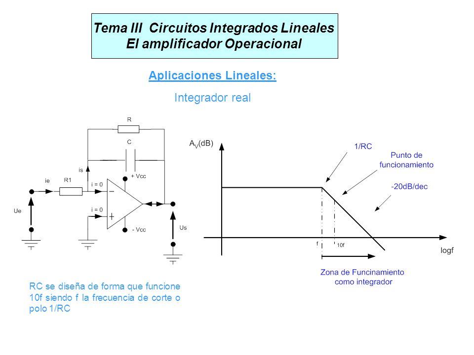 Integrador real Tema III Circuitos Integrados Lineales El amplificador Operacional Aplicaciones Lineales: RC se diseña de forma que funcione 10f siend
