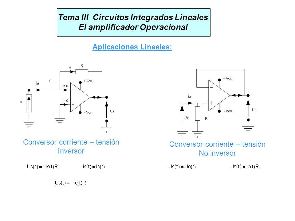 Tema III Circuitos Integrados Lineales El amplificador Operacional Aplicaciones Lineales: Conversor corriente – tensión Inversor Conversor corriente –