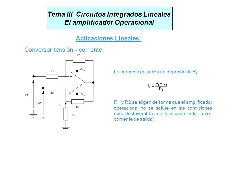 Tema III Circuitos Integrados Lineales El amplificador Operacional Aplicaciones Lineales: Conversor tensión - corriente La corriente de salida no depe