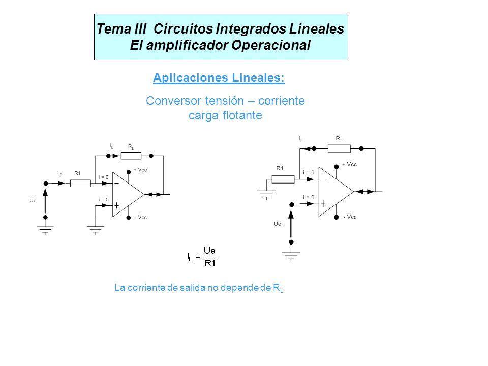 Tema III Circuitos Integrados Lineales El amplificador Operacional Aplicaciones Lineales: Conversor tensión – corriente carga flotante La corriente de