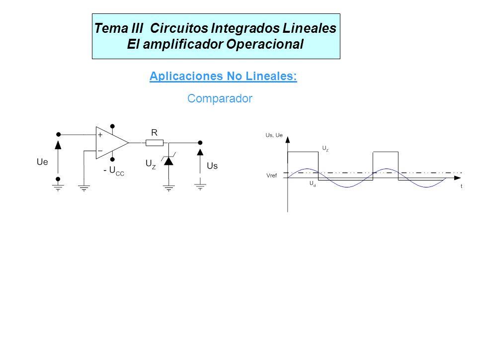 Tema III Circuitos Integrados Lineales El amplificador Operacional Aplicaciones No Lineales: Comparador