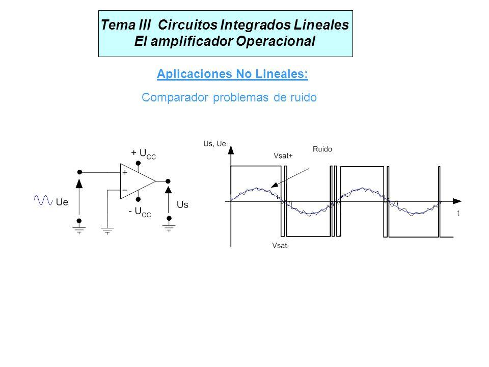 Tema III Circuitos Integrados Lineales El amplificador Operacional Aplicaciones No Lineales: Comparador problemas de ruido