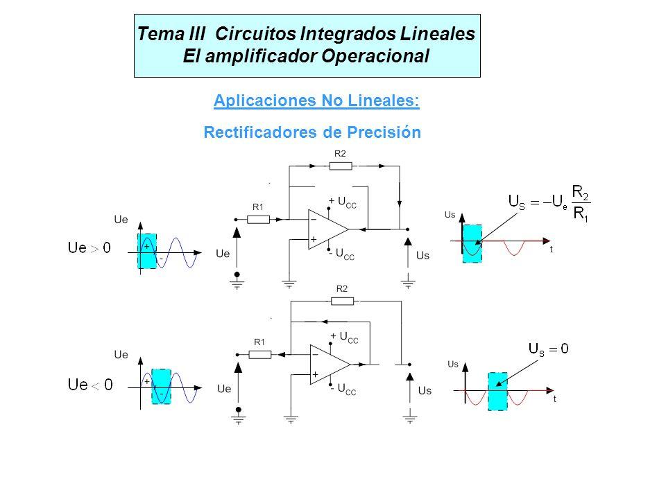 Tema III Circuitos Integrados Lineales El amplificador Operacional Aplicaciones No Lineales: Rectificadores de Precisión