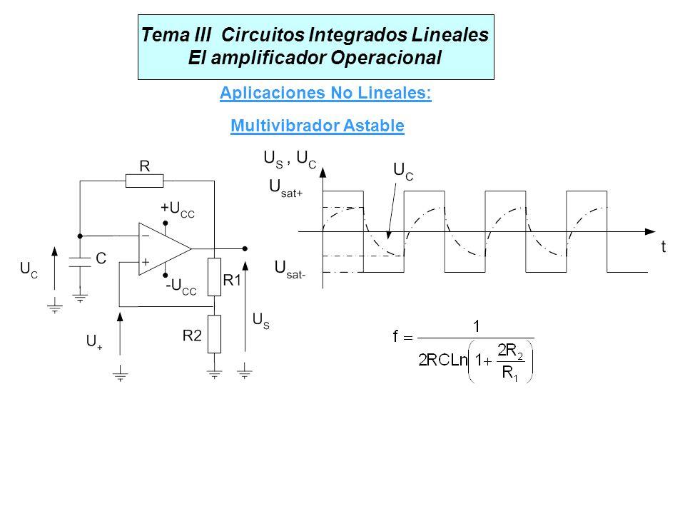 Tema III Circuitos Integrados Lineales El amplificador Operacional Aplicaciones No Lineales: Multivibrador Astable