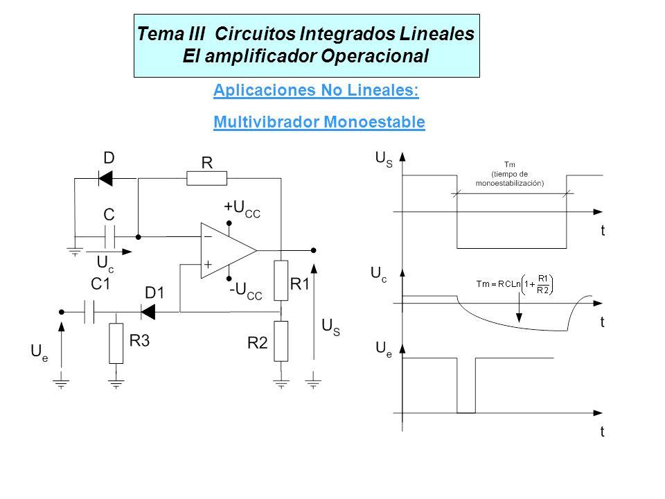 Tema III Circuitos Integrados Lineales El amplificador Operacional Aplicaciones No Lineales: Multivibrador Monoestable