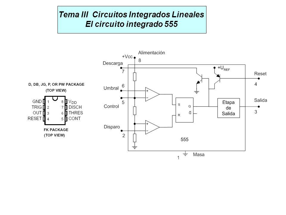 Tema III Circuitos Integrados Lineales El circuito integrado 555