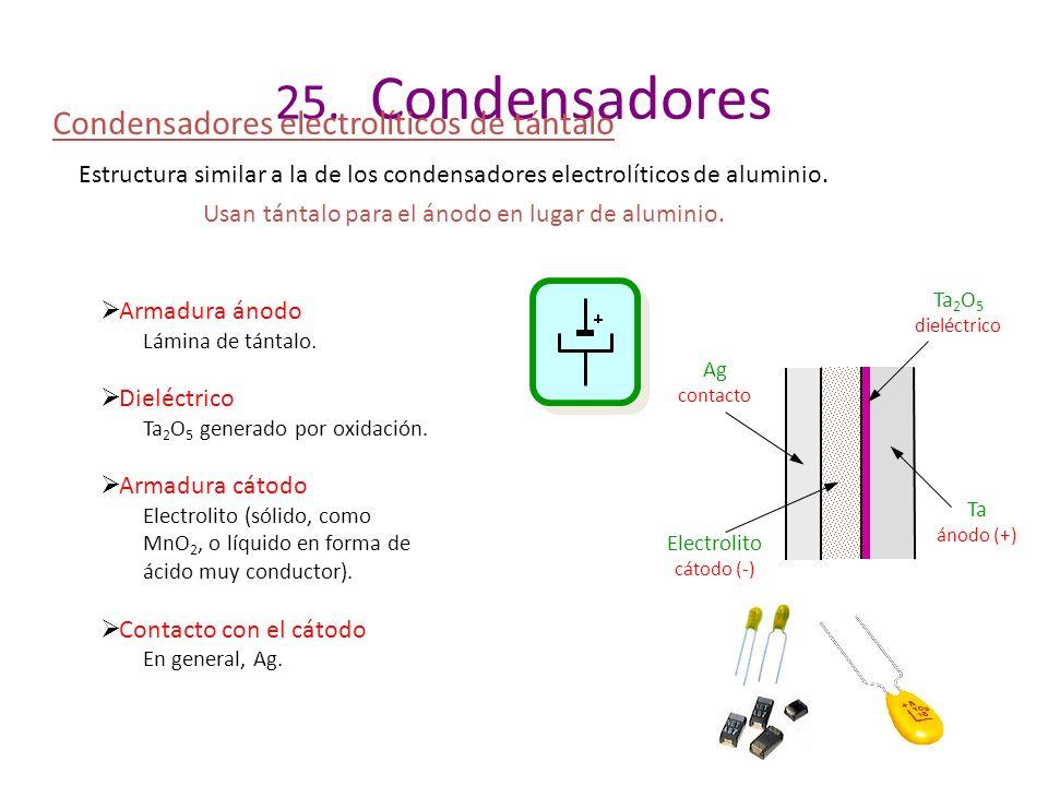 25. Condensadores Condensadores electrolíticos de tántalo Estructura similar a la de los condensadores electrolíticos de aluminio. Usan tántalo para e