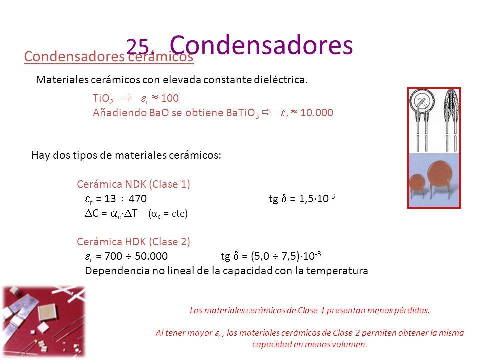 25. Condensadores Condensadores cerámicos Materiales cerámicos con elevada constante dieléctrica. TiO 2 r 100 Añadiendo BaO se obtiene BaTiO 3 r 10.00