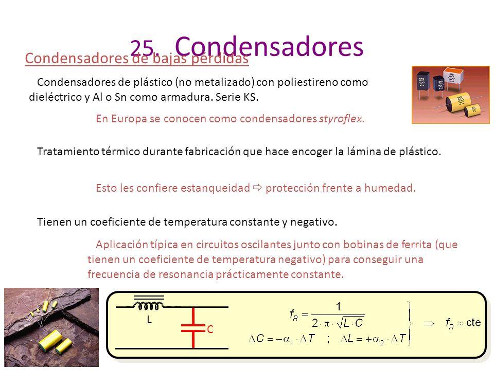 25. Condensadores Condensadores de bajas pérdidas Condensadores de plástico (no metalizado) con poliestireno como dieléctrico y Al o Sn como armadura.