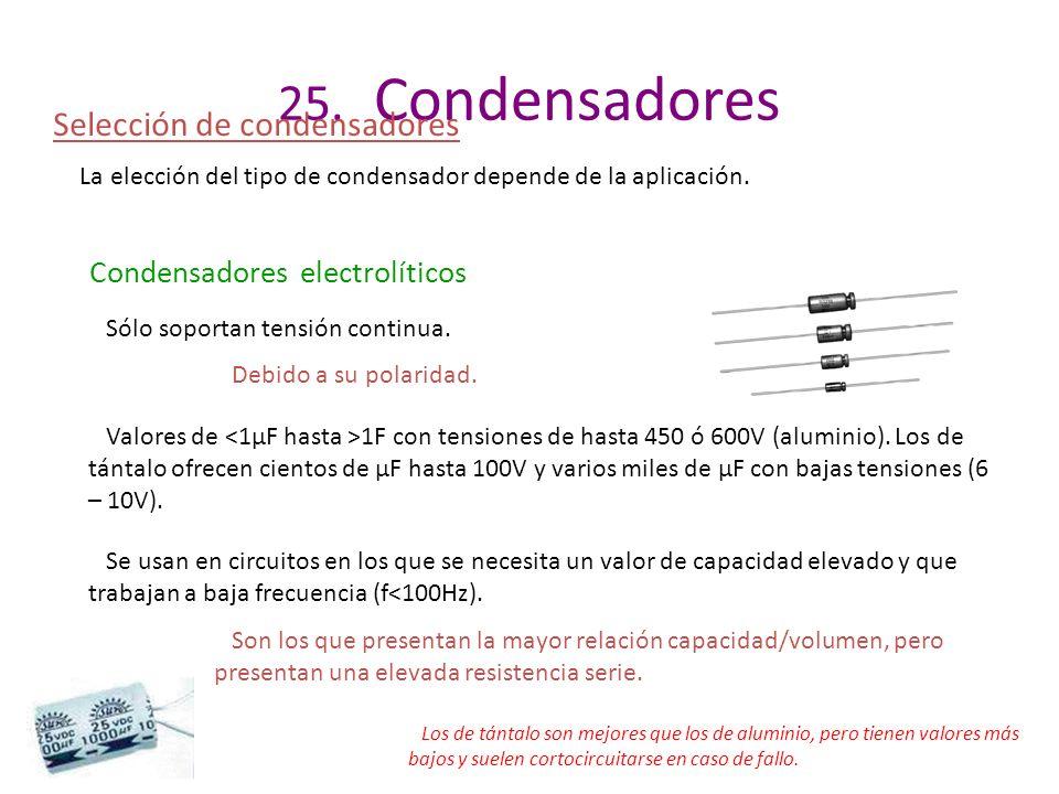 25. Condensadores Selección de condensadores La elección del tipo de condensador depende de la aplicación. Condensadores electrolíticos Sólo soportan