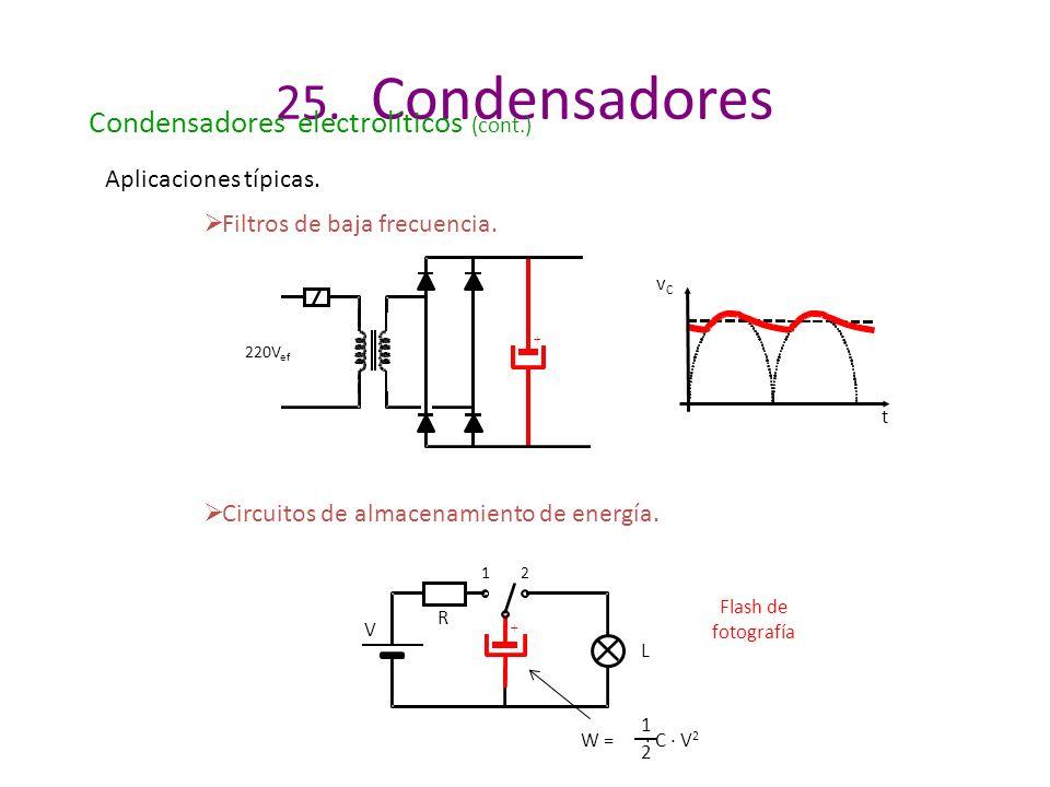 25. Condensadores Condensadores electrolíticos (cont.) Aplicaciones típicas. Filtros de baja frecuencia. vCvC t + 220V ef Circuitos de almacenamiento