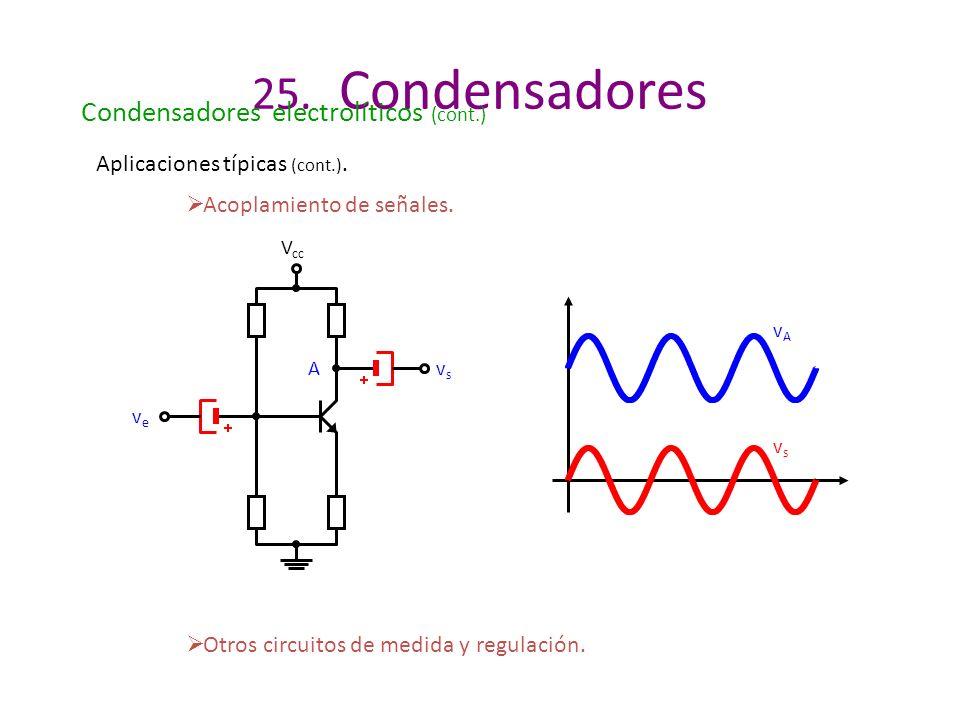 25. Condensadores Condensadores electrolíticos (cont.) Aplicaciones típicas (cont.). Acoplamiento de señales. Otros circuitos de medida y regulación.