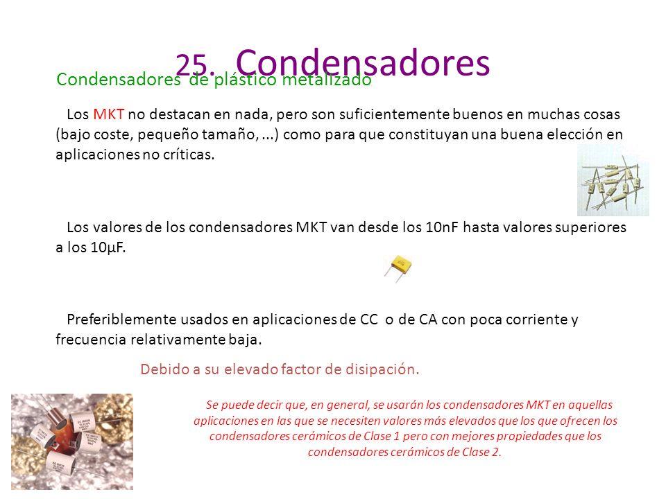 Los valores de los condensadores MKT van desde los 10nF hasta valores superiores a los 10µF. 25. Condensadores Condensadores de plástico metalizado Pr