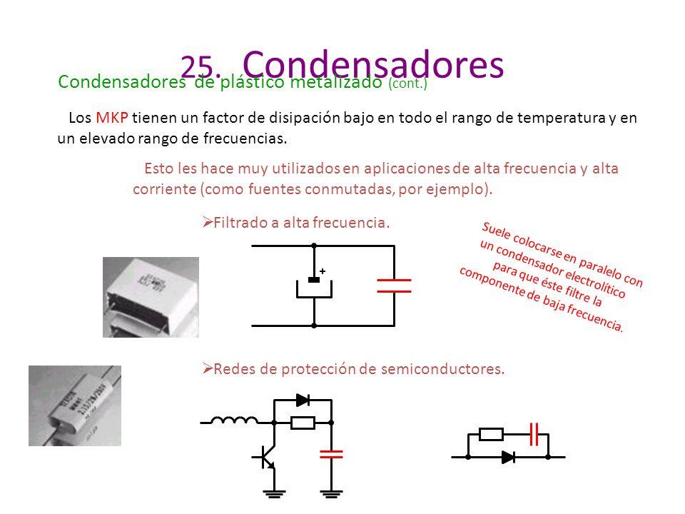 25. Condensadores Condensadores de plástico metalizado (cont.) Los MKP tienen un factor de disipación bajo en todo el rango de temperatura y en un ele