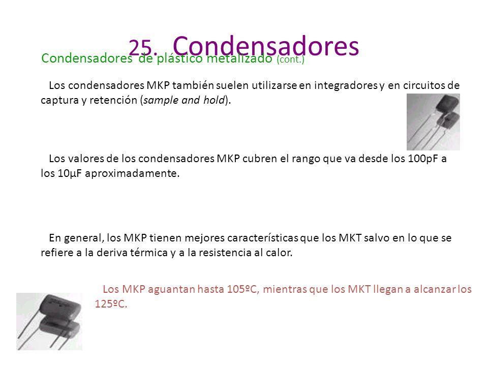 25. Condensadores Los valores de los condensadores MKP cubren el rango que va desde los 100pF a los 10µF aproximadamente. En general, los MKP tienen m