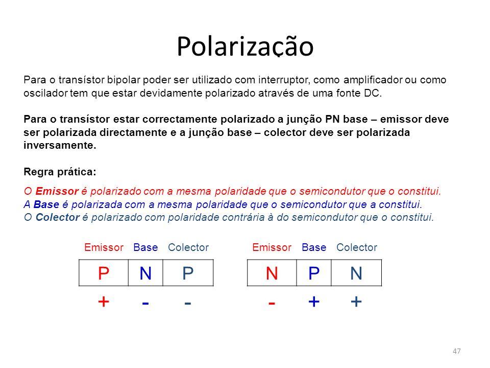 47 Polarização Para o transístor bipolar poder ser utilizado com interruptor, como amplificador ou como oscilador tem que estar devidamente polarizado