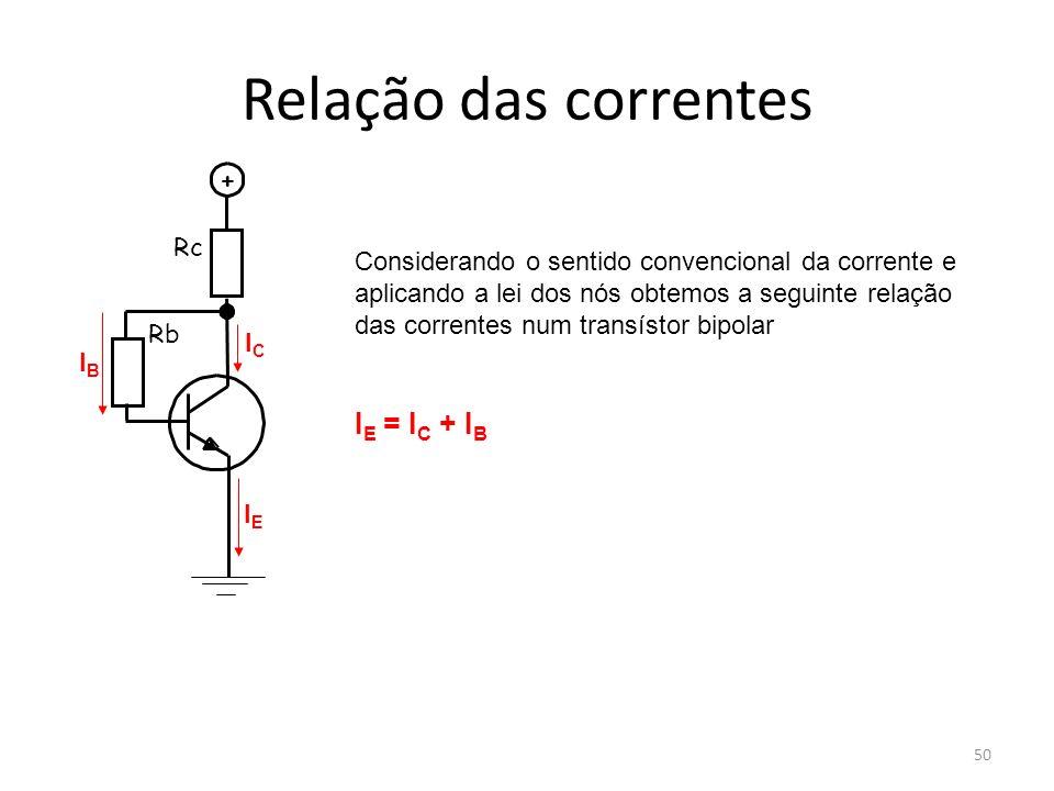 50 Relação das correntes Rc Rb + ICIC IEIE IBIB Considerando o sentido convencional da corrente e aplicando a lei dos nós obtemos a seguinte relação d