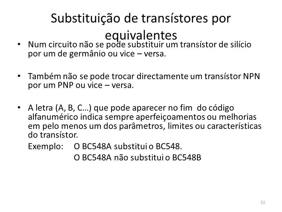 52 Substituição de transístores por equivalentes Num circuito não se pode substituir um transístor de silício por um de germânio ou vice – versa. Tamb