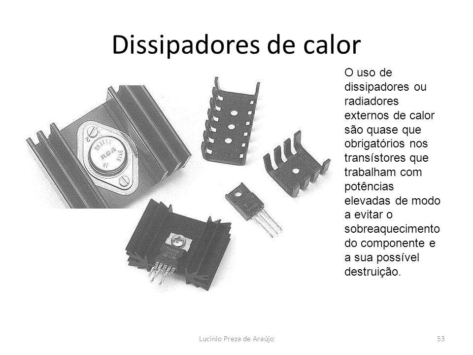 Lucínio Preza de Araújo53 Dissipadores de calor O uso de dissipadores ou radiadores externos de calor são quase que obrigatórios nos transístores que