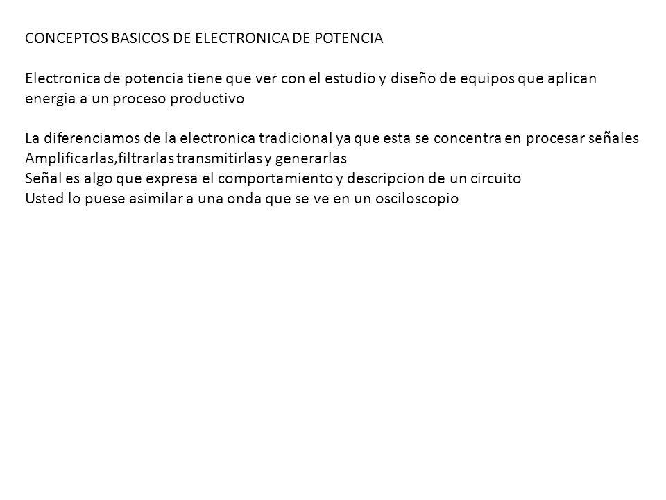CONCEPTOS BASICOS DE ELECTRONICA DE POTENCIA Electronica de potencia tiene que ver con el estudio y diseño de equipos que aplican energia a un proceso