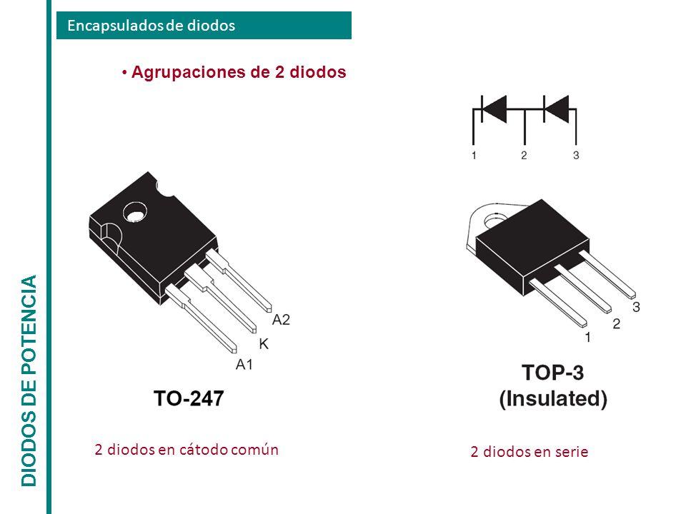 Encapsulados de diodos DIODOS DE POTENCIA Agrupaciones de 2 diodos 2 diodos en cátodo común 2 diodos en serie