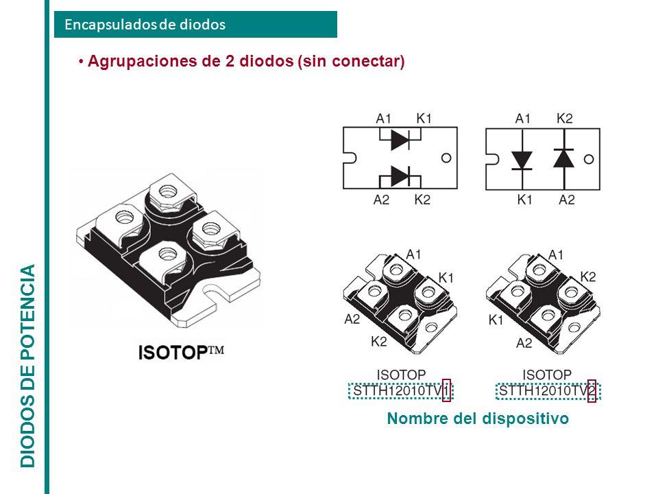 Encapsulados de diodos DIODOS DE POTENCIA Agrupaciones de 2 diodos (sin conectar) Nombre del dispositivo