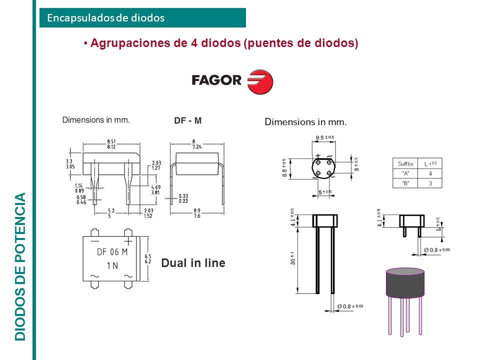 Encapsulados de diodos DIODOS DE POTENCIA Agrupaciones de 4 diodos (puentes de diodos) Dual in line