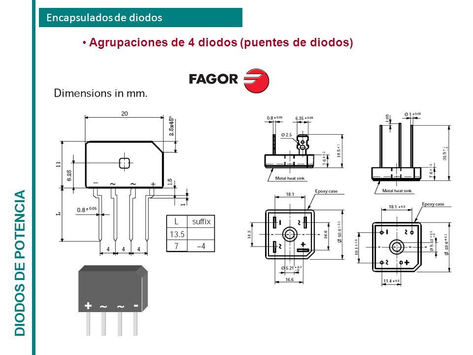 Encapsulados de diodos DIODOS DE POTENCIA Agrupaciones de 4 diodos (puentes de diodos)