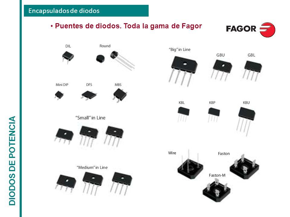 Encapsulados de diodos DIODOS DE POTENCIA Puentes de diodos. Toda la gama de Fagor