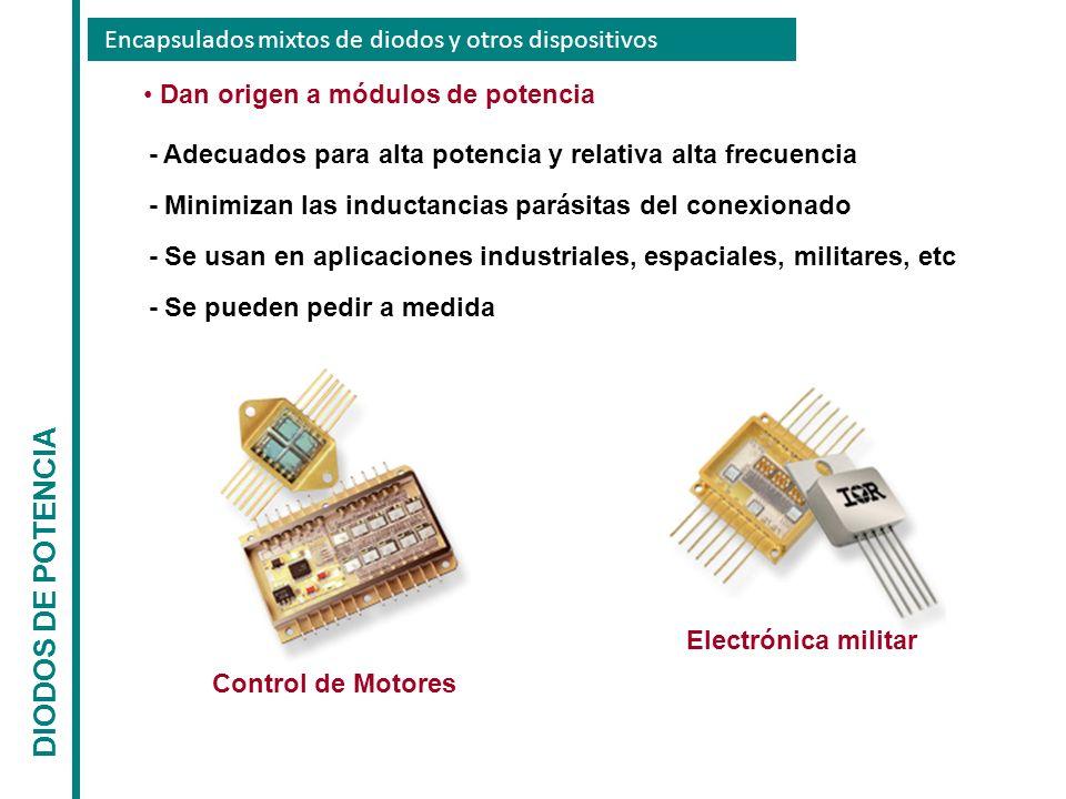 Encapsulados mixtos de diodos y otros dispositivos DIODOS DE POTENCIA Dan origen a módulos de potencia - Adecuados para alta potencia y relativa alta